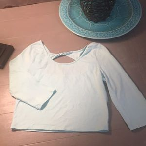 Mint Charlotte Russe crop top with twist back